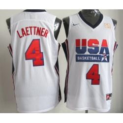 1992 Olympics Team USA  4 Christian Laettner White Swingman Jersey