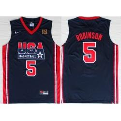 1992 Olympics Team USA 5 David Robinson Navy Blue Swingman Jersey
