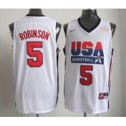 1992 Olympics Team USA 5 David Robinson White Swingman Jersey