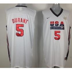 1992 Olympics Team USA 5 Kevin Durant White Swingman Jersey