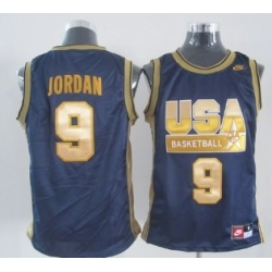 1992 Olympics Team USA 9 Michael Jordan Navy Blue With Gold Swingman Jersey