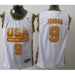 1992 Olympics Team USA 9 Michael Jordan White With Gold Swingman Jersey