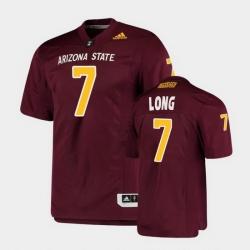 Men Arizona State Sun Devils Ethan Long College Football Maroon Premier Jersey