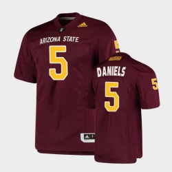 Men Arizona State Sun Devils Jayden Daniels College Football Maroon Premier Jersey