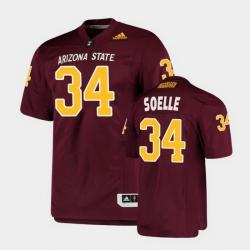 Men Arizona State Sun Devils Kyle Soelle College Football Maroon Premier Jersey