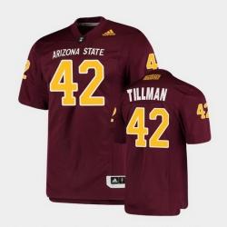 Men Arizona State Sun Devils Pat Tillman College Football Maroon Premier Jersey