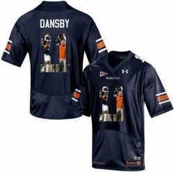 Auburn Tigers 11 Carlos Dansby Navy With Portrait Print College Football Jersey2
