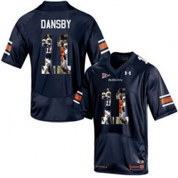 Auburn Tigers 11 Carlos Dansby Navy With Portrait Print College Football Jersey3