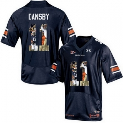Auburn Tigers 11 Carlos Dansby Navy With Portrait Print College Football Jersey