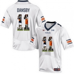 Auburn Tigers 11 Carlos Dansby White With Portrait Print College Football Jersey2