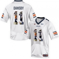Auburn Tigers 11 Carlos Dansby White With Portrait Print College Football Jersey3