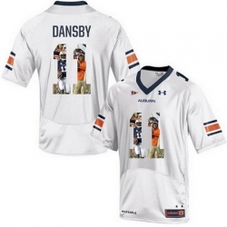 Auburn Tigers 11 Carlos Dansby White With Portrait Print College Football Jersey