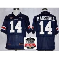 Auburn Tigers 14 Nick Marshall Navy Blue NCAA Football Jerseys 2014 Vizio BCS National Championship Game Patch