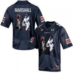 Auburn Tigers 14 Nick Marshall Navy With Portrait Print College Football Jersey2