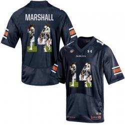 Auburn Tigers 14 Nick Marshall Navy With Portrait Print College Football Jersey
