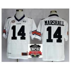 Auburn Tigers 14 Nick Marshall White NCAA Football Jerseys 2014 Vizio BCS National Championship Game Patch