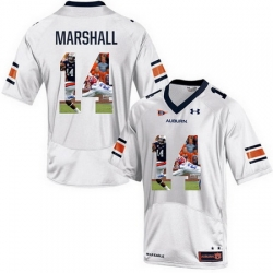 Auburn Tigers 14 Nick Marshall White With Portrait Print College Football Jersey2