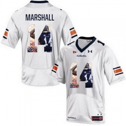 Auburn Tigers 14 Nick Marshall White With Portrait Print College Football Jersey