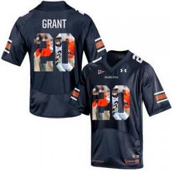 Auburn Tigers 20 Corey Grant Navy With Portrait Print College Football Jersey