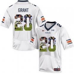 Auburn Tigers 20 Corey Grant White With Portrait Print College Football Jersey2