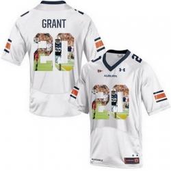 Auburn Tigers 20 Corey Grant White With Portrait Print College Football Jersey