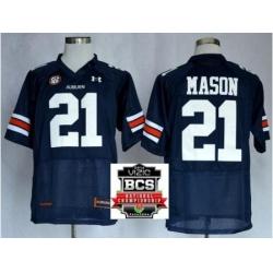 Auburn Tigers 21 Tre Mason Navy Blue NCAA Football Jerseys 2014 Vizio BCS National Championship Game Patch