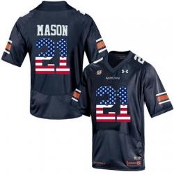 Auburn Tigers 21 Tre Mason Navy USA Flag College Football Jersey