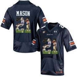 Auburn Tigers 21 Tre Mason Navy With Portrait Print College Football Jersey2