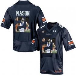 Auburn Tigers 21 Tre Mason Navy With Portrait Print College Football Jersey