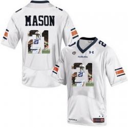 Auburn Tigers 21 Tre Mason White With Portrait Print College Football Jersey