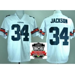Auburn Tigers 34 Bo Jackson White Throwback College Football NCAA Jerseys 2014 Vizio BCS National Championship Game Patch