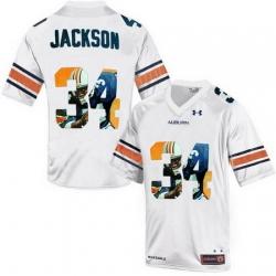 Auburn Tigers 34 Bo Jackson White With Portrait Print College Football Jersey2