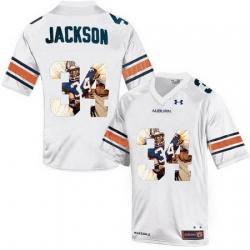 Auburn Tigers 34 Bo Jackson White With Portrait Print College Football Jersey3