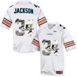 Auburn Tigers 34 Bo Jackson White With Portrait Print College Football Jersey