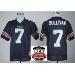 Auburn Tigers 7 Pat Sullivan Navy Blue Throwback College Football NCAA Jerseys 2014 Vizio BCS National Championship Game Patch