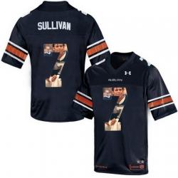 Auburn Tigers 7 Pat Sullivan Navy With Portrait Print College Football Jersey2