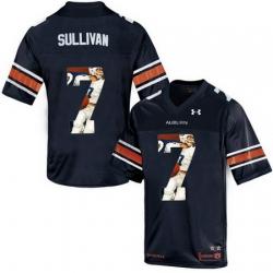 Auburn Tigers 7 Pat Sullivan Navy With Portrait Print College Football Jersey