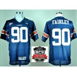 Auburn Tigers 90 Nick Fairley Navy Blue College Football NCAA Jerseys 2014 Vizio BCS National Championship Game Patch