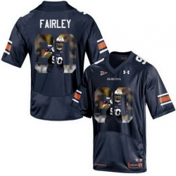 Auburn Tigers 90 Nick Fairley Navy With Portrait Print College Football Jersey2
