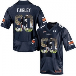 Auburn Tigers 90 Nick Fairley Navy With Portrait Print College Football Jersey3