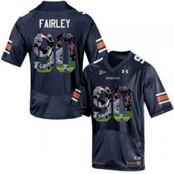 Auburn Tigers 90 Nick Fairley Navy With Portrait Print College Football Jersey