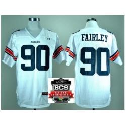 Auburn Tigers 90 Nick Fairley White College Football NCAA Jerseys 2014 Vizio BCS National Championship Game Patch