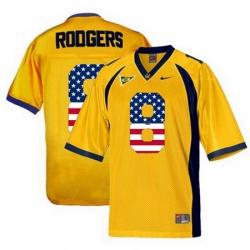 California Golden Bears 8 Aaron Rodgers Gold USA Flag College Football Jersey