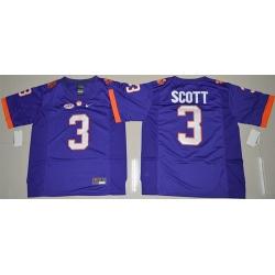 Tigers #3 Artavis Scott Purple Limited Stitched NCAA Jersey