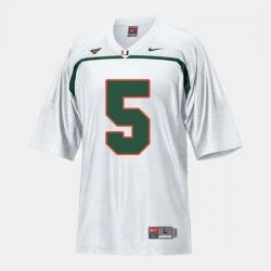 Men Miami Hurricanes Andre Johnson College Football White Jersey