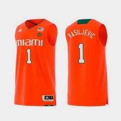 Men Miami Hurricanes Dejan Vasiljevic Orange Replica College Basketball Jersey