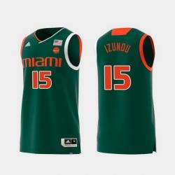 Men Miami Hurricanes Ebuka Izundu Green Replica College Basketball Jersey