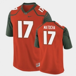Men Miami Hurricanes Peyton Matocha Replica Orange College Football Jersey