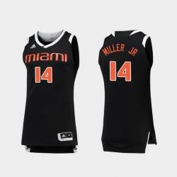 Men Miami Hurricanes Rodney Miller Jr. Black White Chase College Basketball Jersey