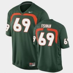 Men Miami Hurricanes Sam Fishman Game Green College Football Jersey
